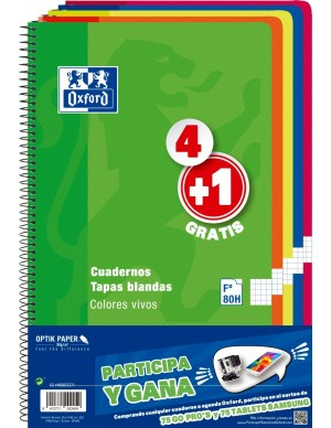 Pack 4+ 1 libretas oxford folio cuadricula colores vivos