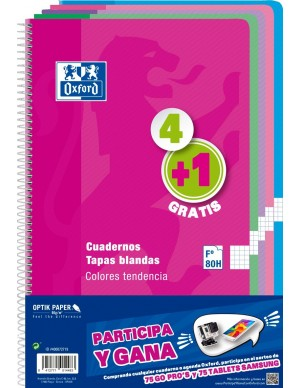 Pack 4+ 1 libretas oxford folio cuadricula tapa blanda colores tendencia