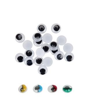 Ojos adhesivos ovalados móviles negros