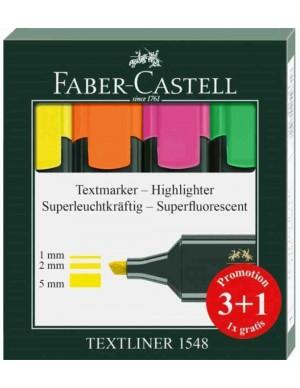 Caja 4 fluorescentes Faber Castell Textliner 48 -PROMOCIÓN-