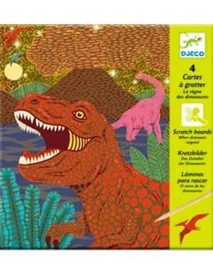 Láminas para rascar, el reino de los dinosaurios Djeco