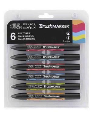 Blister 6 rotuladores Promarker brush tonos medios