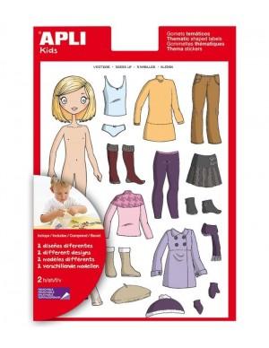 Pte 2 hojas gomets temáticos APLI: vestirse niña