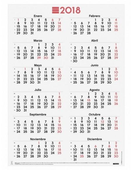 Póster calendario 48.5x68 cm números grandes 2018