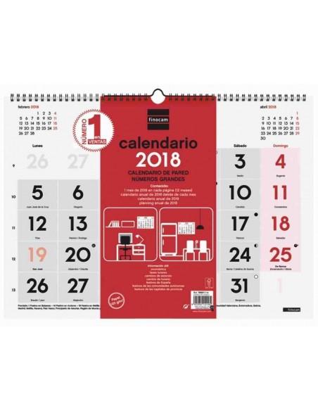 Calendario de pared 43X31 números grandes 2018