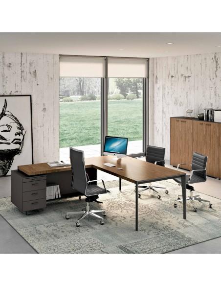 Mesa dirección en madera con ala y buk pedestal Quadrifoglio X9