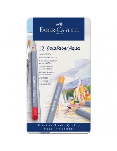 Estuche de metal 12 lápices acuarelables Goldfaber Aqua 114612