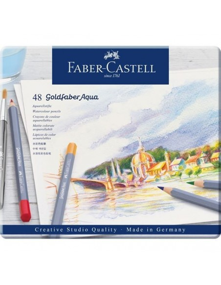 Estuche de metal 48 lápices acuarelables Goldfaber Aqua 114648