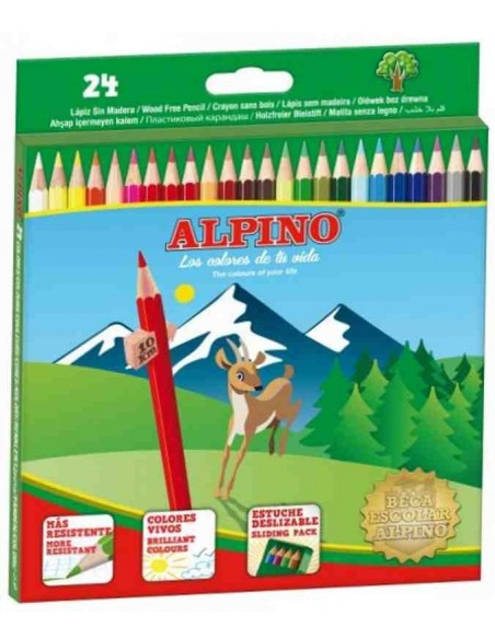 C/ 24 lápices Alpino de madera