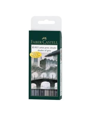 Estuche 6 rotuladores Pitt gama grises Faber Castell 167104