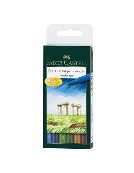 Estuche 6 rotuladores Pitt colores paisajes Faber Castell