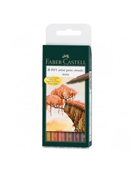 Estuche 6 rotuladores Pitt colores tierra Faber Castell