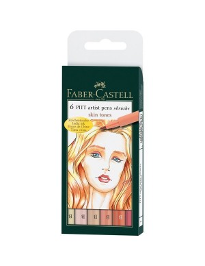 Estuche 6 rotuladores Pitt tonos piel Faber Castell